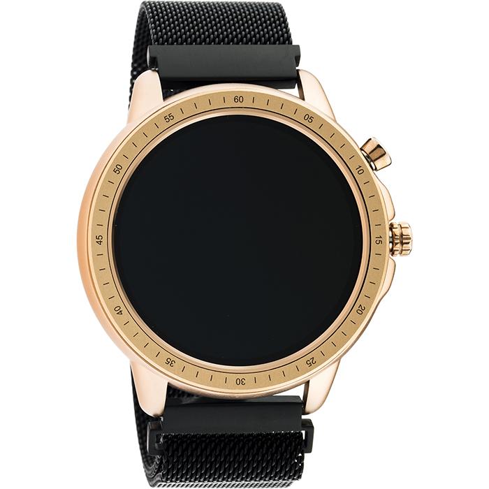 OOZOO Smartwatch Black Bracelet & Rose Gold Metallic Case Q00308 Q00308