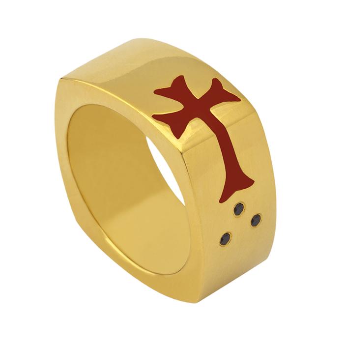 Επίχρυσο δαχτυλίδι Side Cross R10 R10 Ασήμι fashion jewels honor δαχτυλίδια