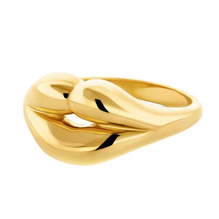 Γυναικείο επίχρυσο δαχτυλίδι Lips R14 R14 Ασήμι