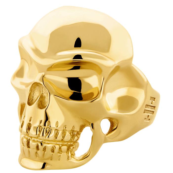 Επίχρυσο αντρικό δαχτυλίδι Skull 925 R30 R30 Ασήμι