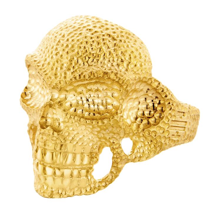 Αντρικό επίχρυσο δαχτυλίδι Dotted Skull R31 R31 Ασήμι fashion jewels honor δαχτυλίδια