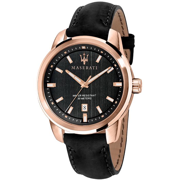 Rose gold ρολόι Maserati με μαύρο λουράκι R8851121011 R8851121011 Ατσάλι