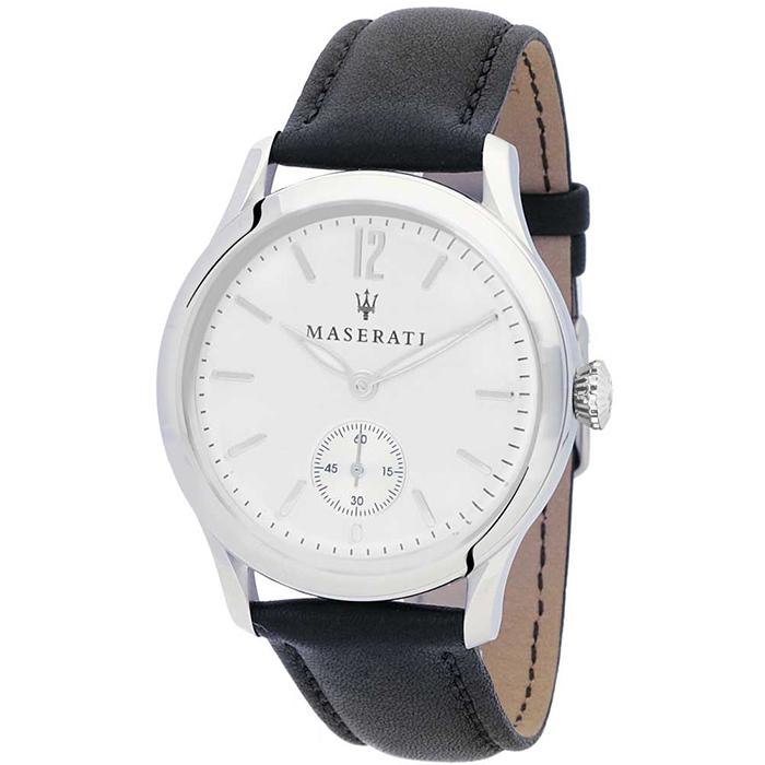 Ρολόι Maserati Black Leather Strap R8851125003 R8851125003 Ατσάλι