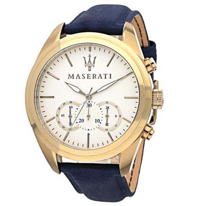 Ρολόι MASERATI Traguardo Cronograph Blue Leather Strap R8871612016 R8871612016 Ατσάλι
