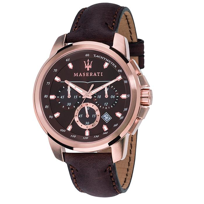 Ρολόι MASERATI Successo brown Leather Strap R8871621004 R8871621004 Ατσάλι