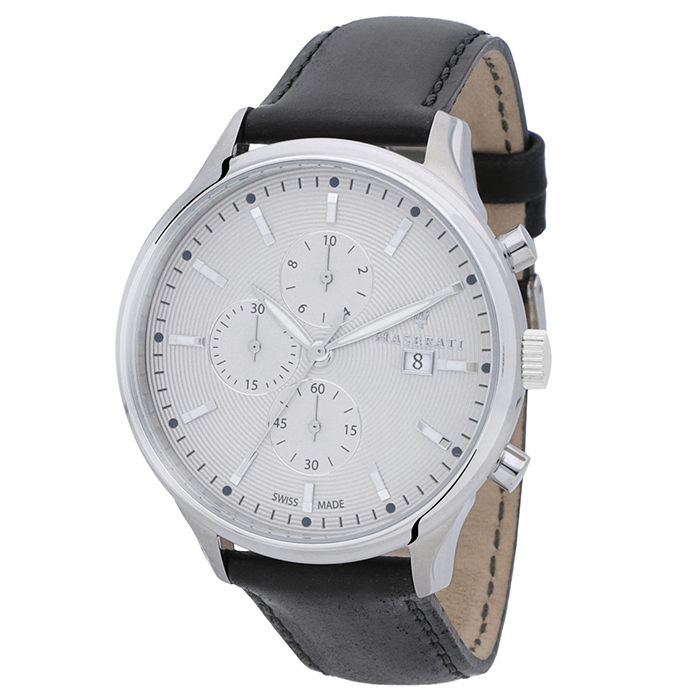 Αντρικό ρολόι χειρός Maserati Black Leather Strap R8871626002 R8871626002 Ατσάλι