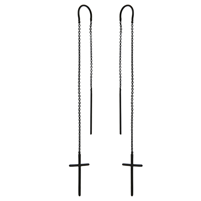 Earrings Cross black 925 SE40B SE40B Ασήμι
