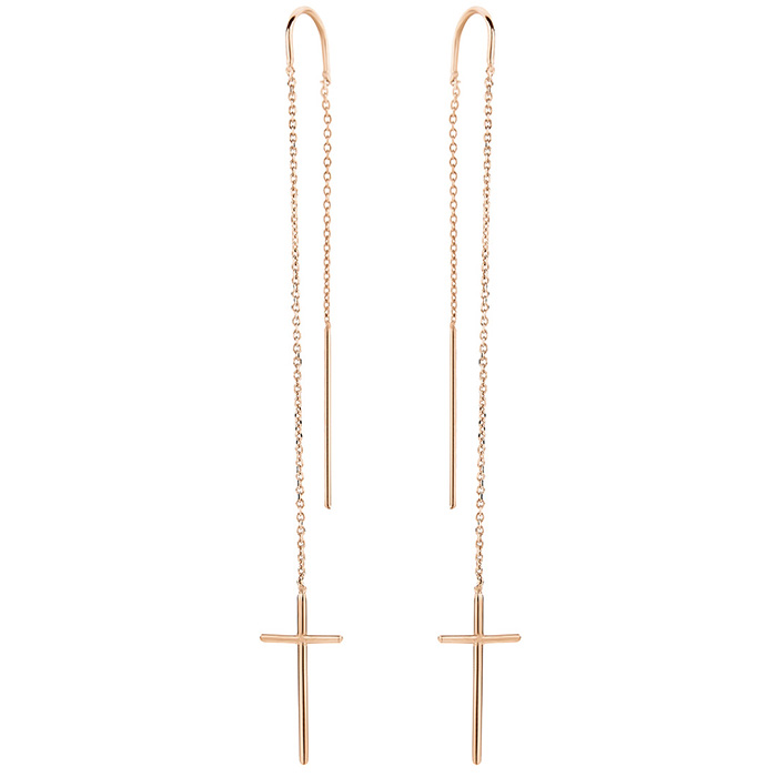 Earrings Cross Rose gold 925 SE40P SE40P Ασήμι