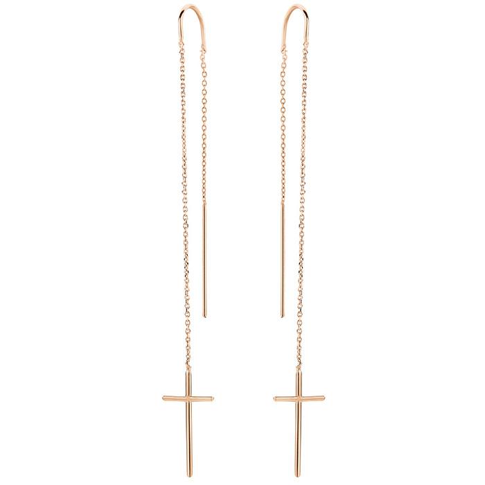 Earrings Cross Rose gold 925 SE40P SE40P Ασήμι