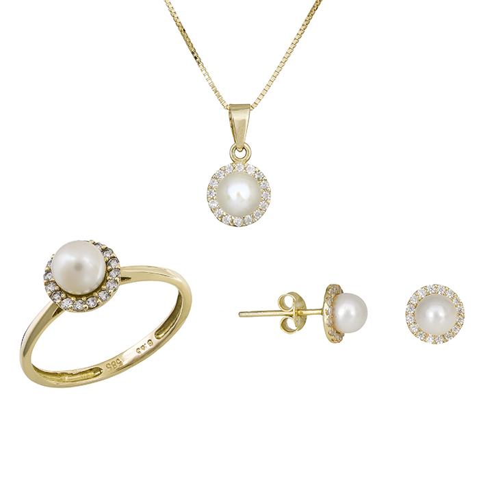 Χρυσό σετ γάμου- αρραβώνα Κ14 με μαργαριτάρι SET012204 SET012204 Χρυσός 14 Καράτια
