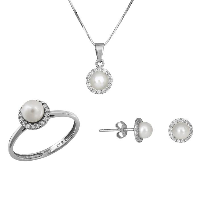 Λευκόχρυσο σετ γάμου- αρραβώνα Κ14 με μαργαριτάρι SET012228C SET012228C Χρυσός 14 Καράτια