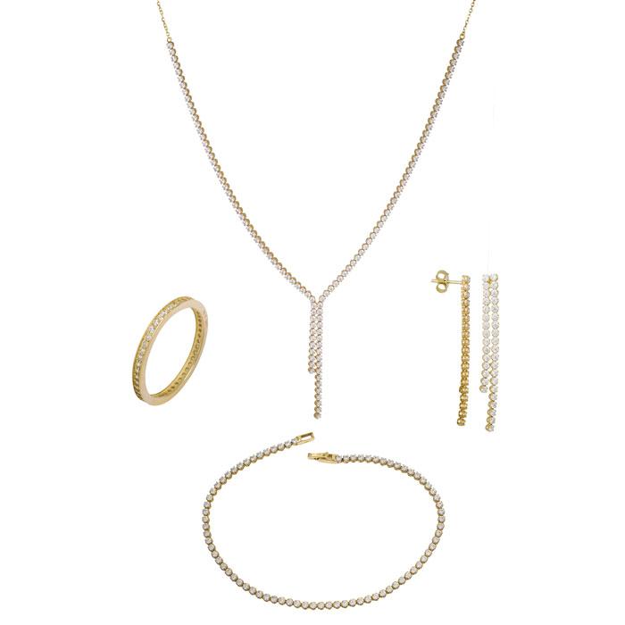 Χρυσό σετ αρραβώνα- γάμου Κ14 με ζιργκόν SET014209 SET014209 Χρυσός 14 Καράτια