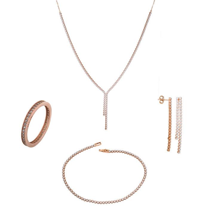 Σετ αρραβώνα- γάμου ροζ gold K14 με ζιργκόν SET018207 SET018207 Χρυσός 14 Καράτια