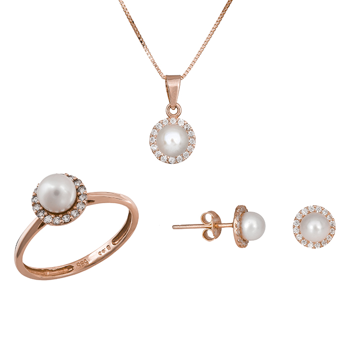 Ροζ gold σετ γάμου- αρραβώνα Κ14 με μαργαριτάρι SET020937C SET020937C Χρυσός 14 Καράτια