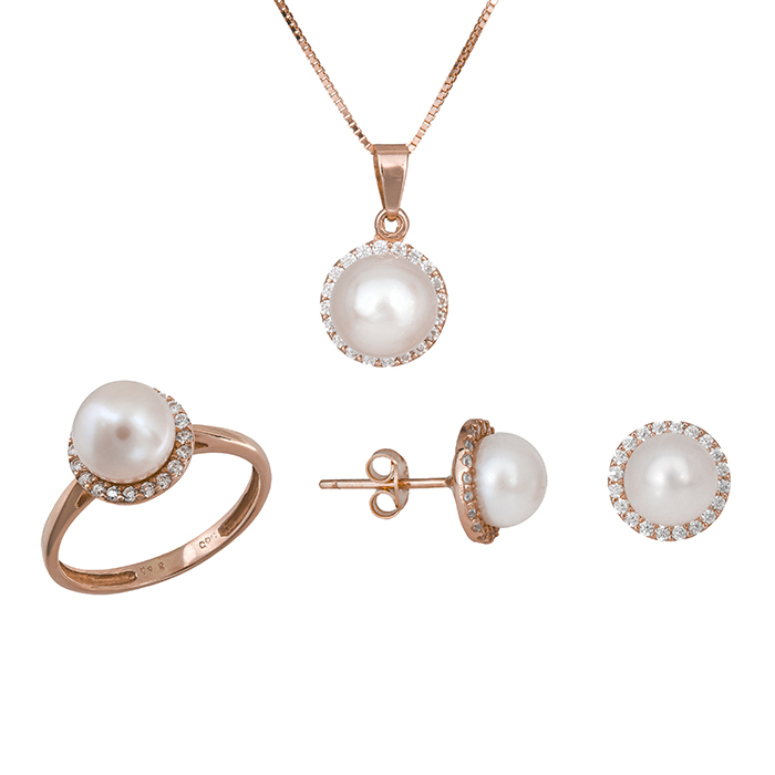 Γυναικείο σετ γάμου- αρραβώνα Κ14 ροζ gold με μαργαριτάρι SET020938C SET020938C Χρυσός 14 Καράτια