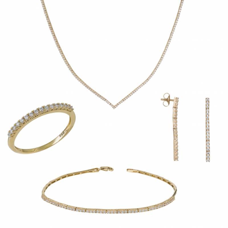 Χρυσό Σετ Κ14 Ριβιέρα με Ζιργκόν Πέτρες SET032427 SET032427 Χρυσός 14 Καράτια