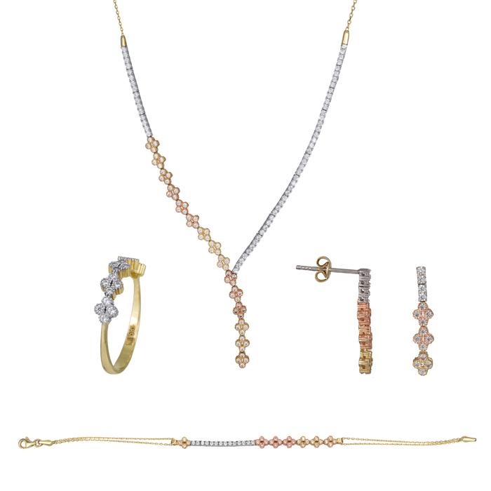 Τρίχρωμο σετ σειρέ με σταυρό 14Κ SET023796 SET023796 Χρυσός 14 Καράτια