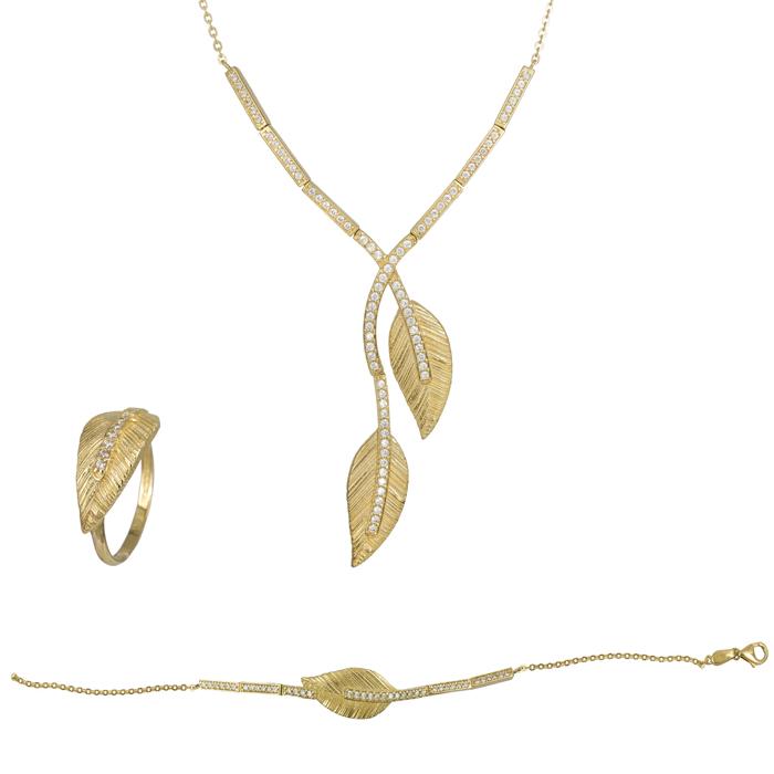 Χρυσό σετ με φύλλα 14Κ SET023862 SET023862 Χρυσός 14 Καράτια