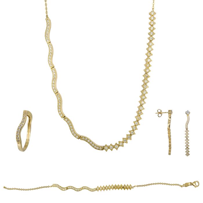 Χρυσό σετ σειρέ με κύμα 14Κ SET023863 SET023863 Χρυσός 14 Καράτια