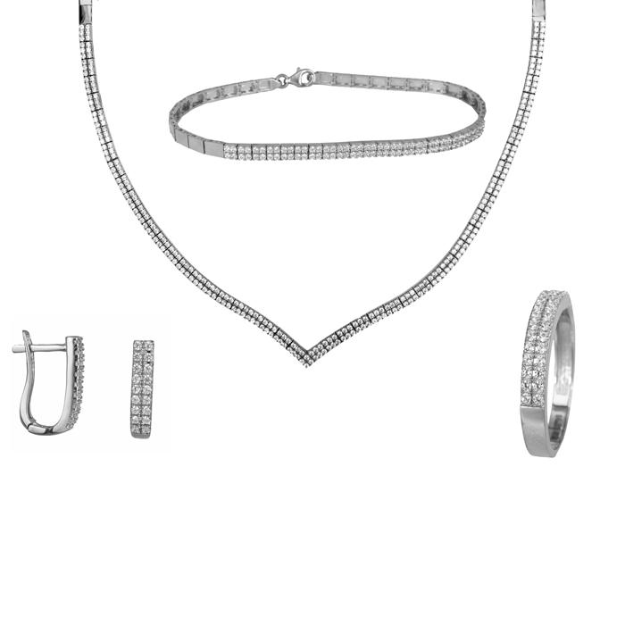 Λευκόχρυσο σετ γάμου με πέτρες 14Κ SET024483 SET024483 Χρυσός 14 Καράτια