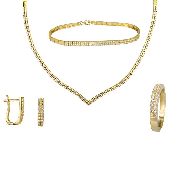 Χρυσό σετ γάμου με πέτρες 14Κ SET024484 SET024484 Χρυσός 14 Καράτια