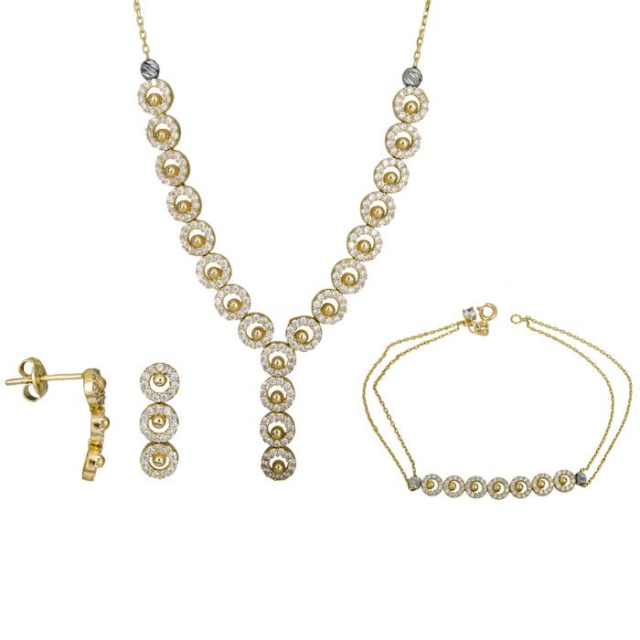 Σετ χρυσό με πέτρες 14Κ SET025384 SET025384 Χρυσός 14 Καράτια