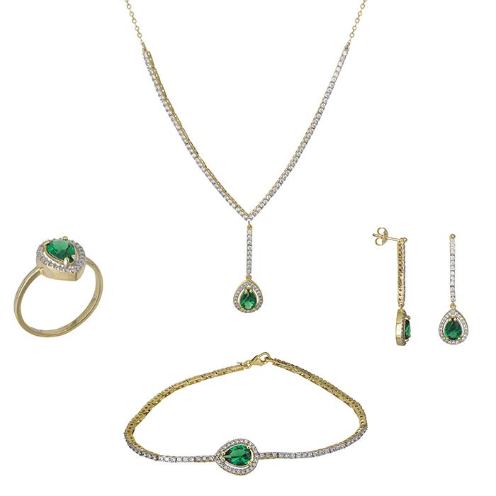 Χρυσό σετ Κ9 ριβιέρα & πράσινες ροζέτες SET026698 SET026698 Χρυσός 9 Καράτια
