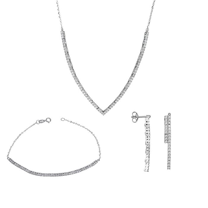 Λευκόχρυσο σετ αρραβώνα- γάμου Κ9 με ζιργκόν SET028607 SET028607 Χρυσός 9 Καράτια