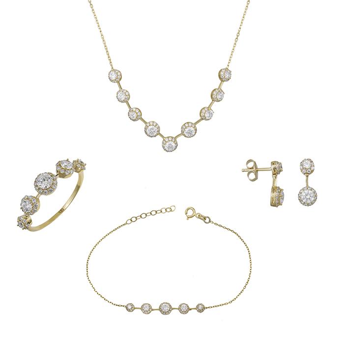 Χρυσό σετ Κ14 ροζέτες με ζιργκόν SET028655 SET028655 Χρυσός 14 Καράτια