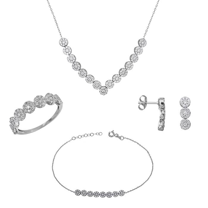 Λευκόχρυσο σετ γάμου- αρραβώνα Κ14 ροζέτες με ζιργκόν SET028656 SET028656 Χρυσός 14 Καράτια