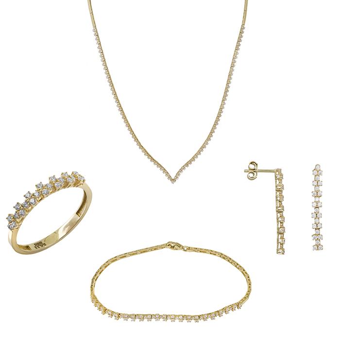 Χρυσό σετ γάμου με ζιργκόν 14Κ SET028976 SET028976 Χρυσός 14 Καράτια