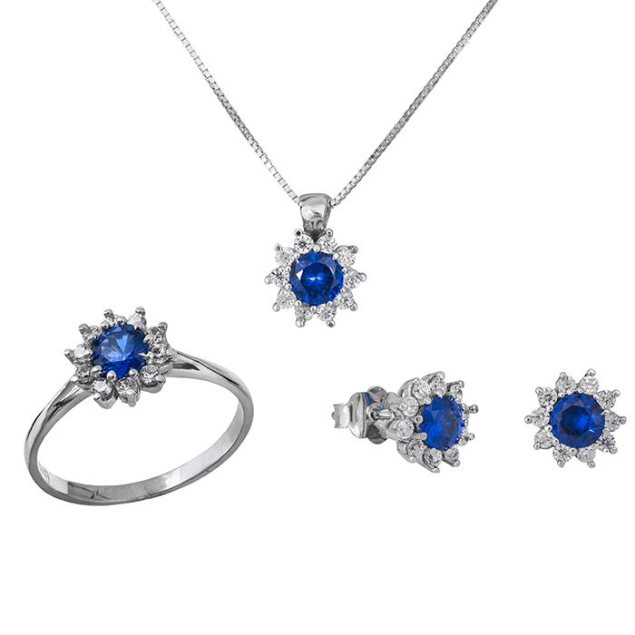 Σετ γάμου- αρραβώνα Κ14 ροζέτα με μπλε πέτρα SET029016 SET029016 Χρυσός 14 Καράτια