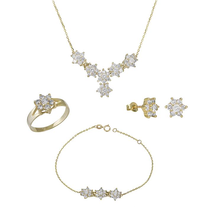 Χρυσό σετ γάμου- αρραβώνα Κ9 με ροζέτα SET029661 SET029661 Χρυσός 9 Καράτια