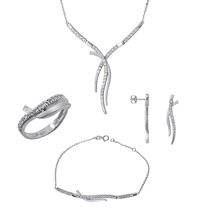 Λευκόχρυσο σετ γάμου- αρραβώνα Κ9 με ζιργκόν SET029787 SET029787 Χρυσός 9 Καράτια