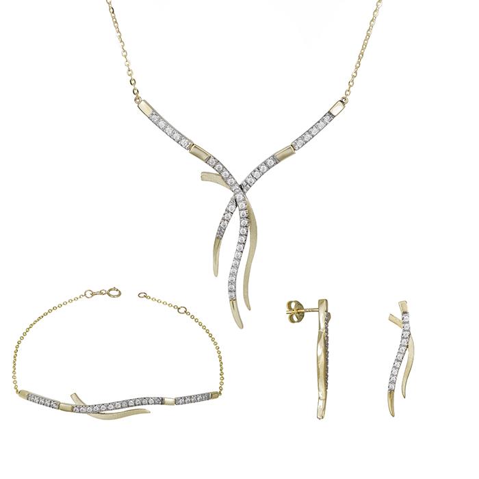 Χρυσό σετ γάμου- αρραβώνα Κ9 με ζιργκόν πέτρες SET030150 SET030150 Χρυσός 9 Καράτια