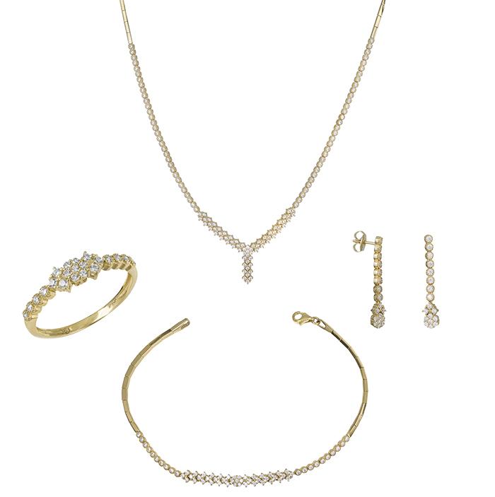 Σετ γάμου- αρραβώνα χρυσό Κ14 με ζιργκόν SET030228 SET030228 Χρυσός 14 Καράτια