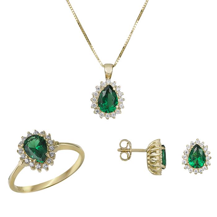 Χρυσό σετ αρραβώνα Κ14 ροζέτα με πράσινη πέτρα SET030754 SET030754 Χρυσός 14 Καράτια