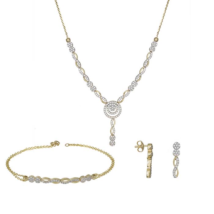 Χρυσό σετ αρραβώνα Κ14 πλεξούδα με ζιργκόν πέτρες SET031392 SET031392 Χρυσός 14 Καράτια
