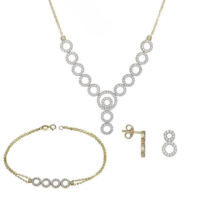 Σετ γάμου- αρραβώνα Κ14 με λευκές πέτρες ζιργκόν SET031395 SET031395 Χρυσός 14 Καράτια