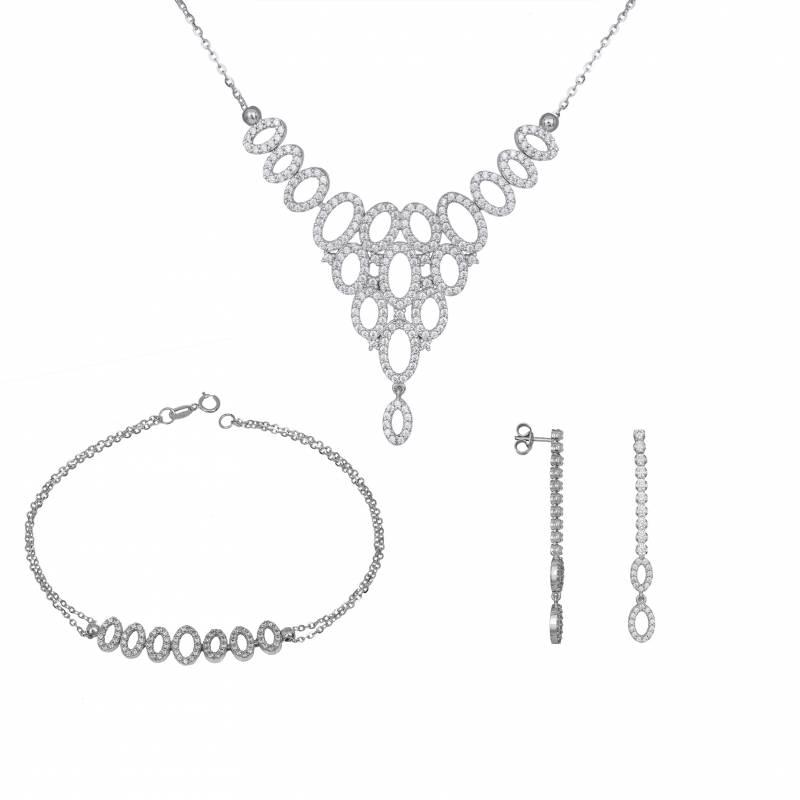Σετ Γάμου/Αρραβώνα με Λευκές Πέτρες Ζιργκόν SET031398 SET031398 Χρυσός 14 Καράτια