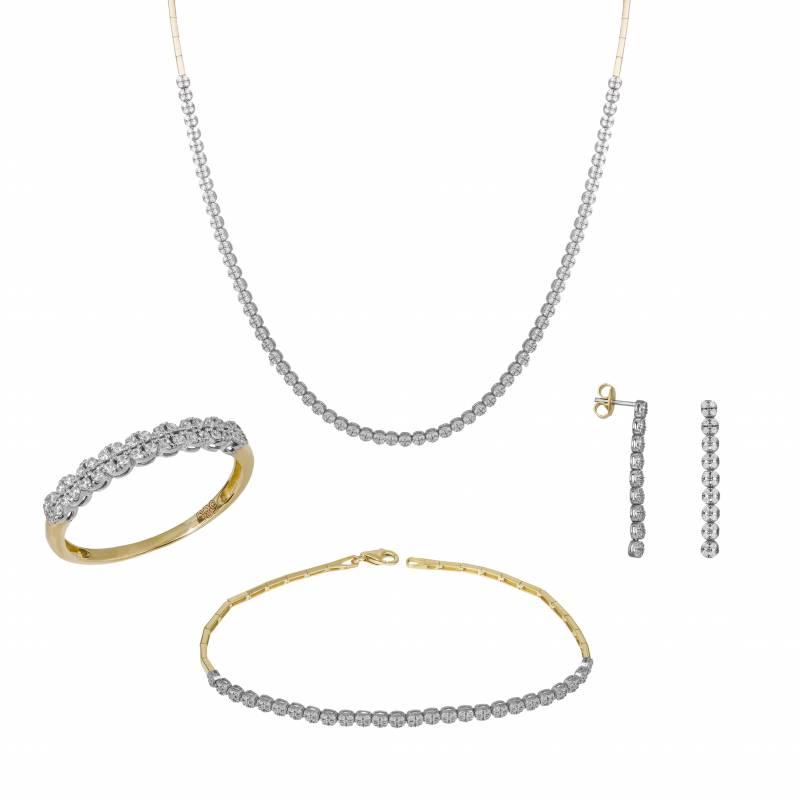 Δίχρωμο σετ γάμου- αρραβώνα Κ14 SET032443 SET032443 Χρυσός 14 Καράτια