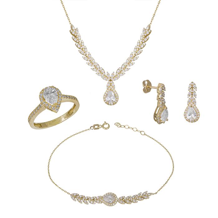 Χρυσό σετ αρραβώνα Κ14 με ζιργκόν πέτρες SET033417 SET033417 Χρυσός 14 Καράτια