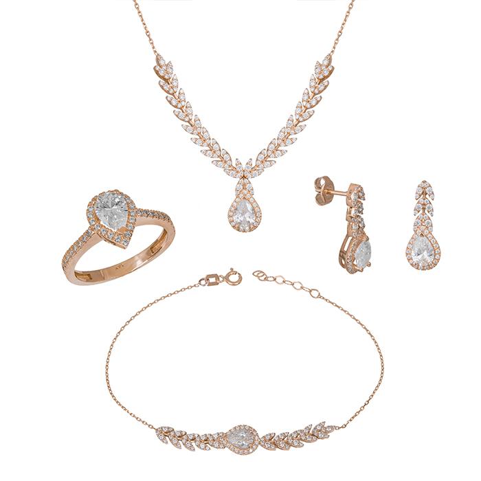 Σετ γάμου ή αρραβώνα σε ροζ gold Κ14 SET033428 SET033428 Χρυσός 14 Καράτια
