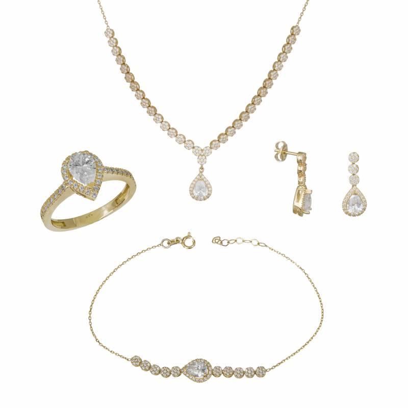 Χρυσό σετ γάμου ή αρραβώνα 14Κ με πουάρ ροζέτα SET033794 SET033794 Χρυσός 14 Καράτια