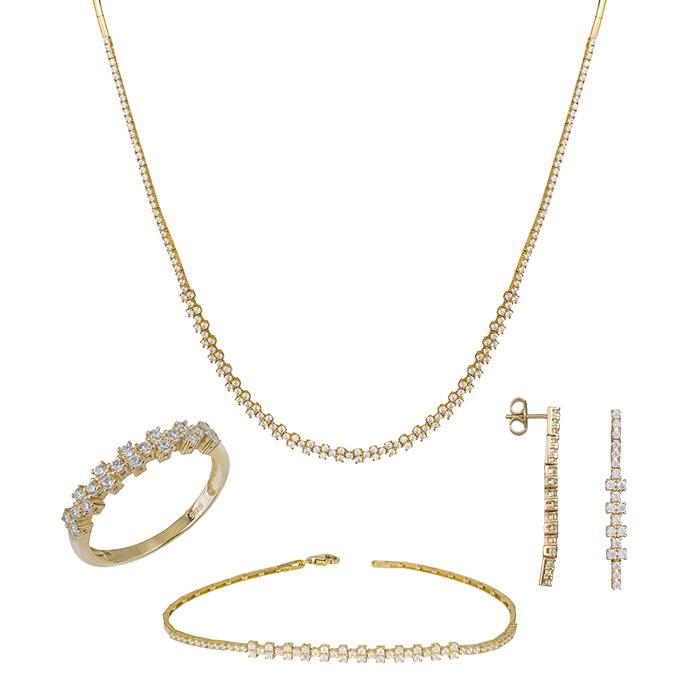 Σετ αρραβώνα σε χρυσό Κ14 με λευκές πέτρες ζιργκόν SET035394 SET035394 Χρυσός 14 Καράτια