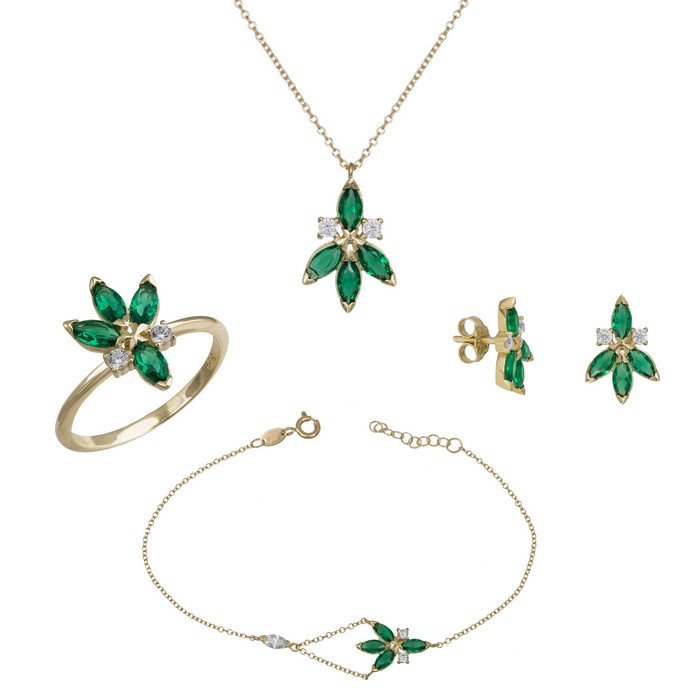 Χρυσό σετ αρραβώνα Κ9 με πράσινες πέτρες Marquis SET036473 SET036473 Χρυσός 9 Καράτια