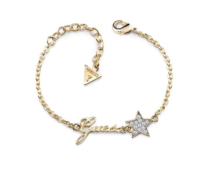 Επίχρυσο βραχιόλι Guess με αστέρι UBB84039-L UBB84039-L Ορείχαλκος fashion jewels guess bραχιόλια
