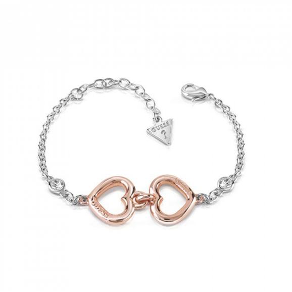 Βραχιόλι Guess με δύο καρδούλες UBB84045-L UBB84045-L Ορείχαλκος fashion jewels guess bραχιόλια