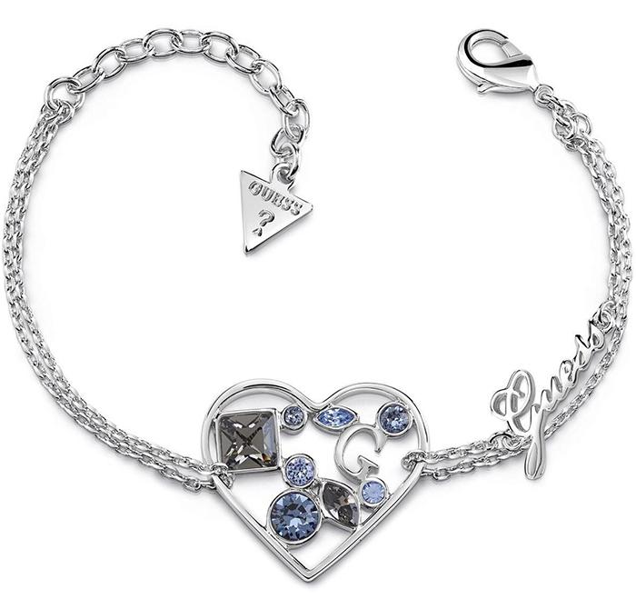 Βραχιόλι Guess με καρδιά και σιέλ πέτρες UBB84117 UBB84117 Ορείχαλκος