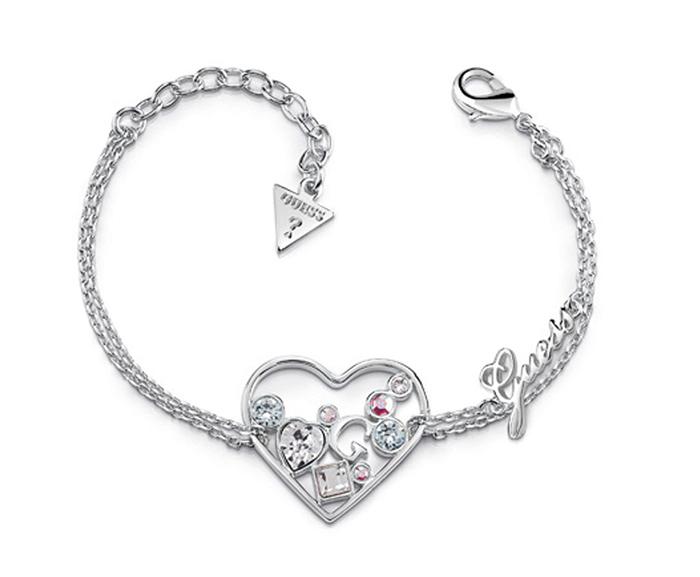 Βραχιόλι Guess με καρδιά και πέτρες ζιργκόν UBB84119 UBB84119 Ορείχαλκος fashion jewels guess bραχιόλια